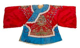 A Chinese Embroidered Silk Lady's Winter Robe Length collar to hem 36 inches.