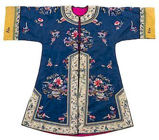 An Embroidered Silk Lady's Robe Height 48 1/4 inches.