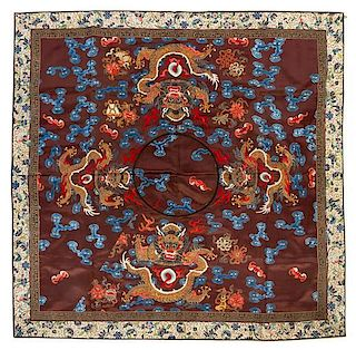 An Embroidered Silk Panel Height 35 3/4 x width 35 3/4 inches.