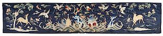 An Embroidered Silk Panel LIKELY 19TH CENTURY Height 19 3/4 inches x 101 3/4 inches.