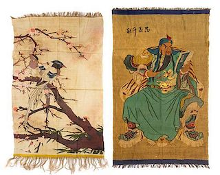Two Silk Kesi Panels Height of larger 32 3/4 x width 15 1/2 inches.