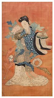 A Large Embroidered Silk Panel Height 58 1/2 x width 32 inches.