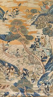 A Large Silk Kesi Panel QING DYNASTY, 19TH CENTURY Height of panel 61 3/8 x width 34 inches.