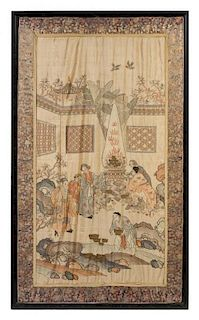 A Large Silk Kesi Panel LIKELY 19TH CENTURY Height of image 57 3/4 x width 34 inches.