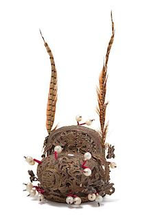 A Chinese Parcel Gilt and Lacquered, King Fisher and Pheasant Feather Decorated Performer's Hat 19TH CENTURY Height of hat 8 1/2
