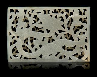 * A Pierce Carved Jade Plaque Length of first 2 5/8 inches.