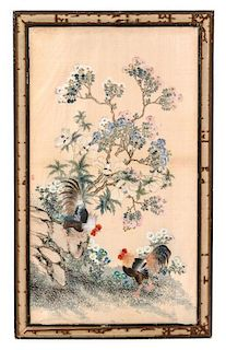 * Attributed to Wang Chenxun, LATE QING DYNASTY, Roosters under Flowering Branches