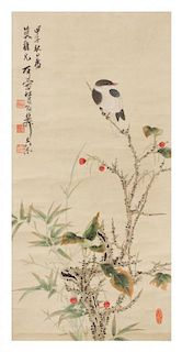 In the Manner of Xie Zhiliu, (1910-1997), depicting birds perched on flowering branches.