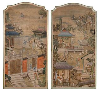 * Two Ink and Color on Silk Paintings LIKELY 19TH CENTURY Height of each 69 x 35 1/4 inches.