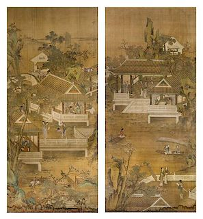 * Two Ink and Color on Paper Paintings LIKELY 19TH/EARLY 20TH CENTURY Height 78 5/8 x width 34 5/8 inches.