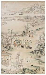 * Attributed to Shangguan Zhou, (1665-circa 1750), Scholars in Riverscape Scene