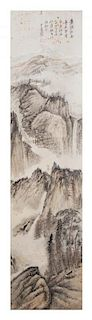 Attributed to Zhang Daqian, (Chinese, 1899-1983), depicting a mountainous landscape with a scholar standing gazing into the dist