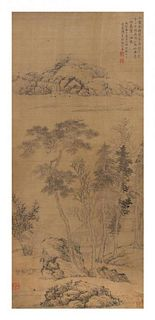 Attributed to Zhang Zongcang, (Chinese, 1868-1756), depicting riverscape landscape with a scholar in a small house.