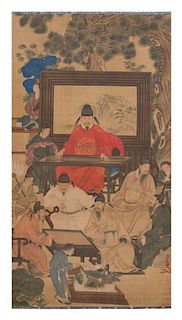 After Yao Wenhan, (Chinese, 18th Century), depicting a garden setting with scholars in various leisure pursuits, one sitting in
