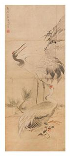 After Shen Quan, (Chinese, 1682-1760), depicting two cranes near rockery.