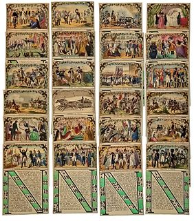 24 Hand-Colored Napoleonic Lotto or Bingo Cards
