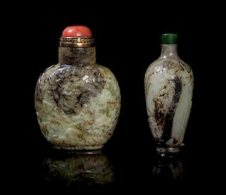 Two Carved Chicken Bone Jade Snuff Bottles POSSIBLY 18TH/19TH CENTURY Height of taller 3 1/4 inches.