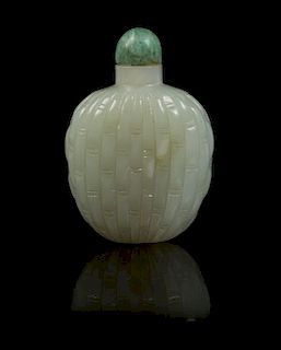 A Celadon Jade Snuff Bottle Height 2 1/4 inches.