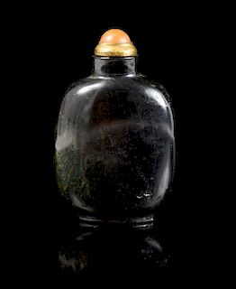 * A Black Jade Snuff Bottle Height 3 1/2 inches.