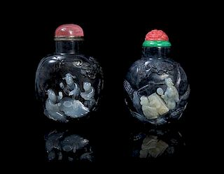 Two Carved Jade Snuff Bottles SUZHOU SCHOOL Height of taller 2 7/8 inches.