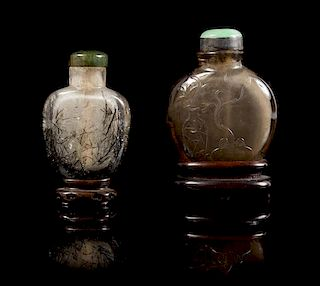 * Two Hardstone Snuff Bottles Height of taller 3 inches (with stand).