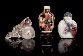 Three Hardstone Snuff Bottles Height of tallest 3 3/8 inches.