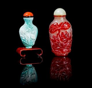 Two Snuff Bottles Height of taller 3 inches.