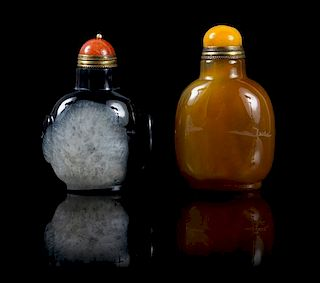 Two Hardstone Snuff Bottles Height of larger 3 inches.