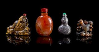 Four Snuff Bottles Height of tallest 2 7/8 inches.