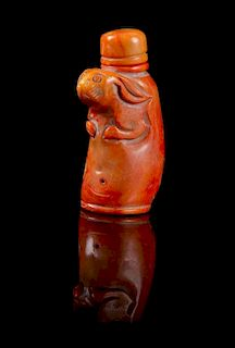 * A Coral Snuff Bottle Height 3 1/4 inches.