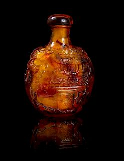 * An Amber Snuff Bottle Height 2 7/8 inches.