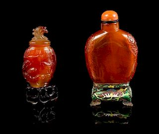 * An Amber Snuff Bottle Height of taller 3 1/2 inches (with stand).