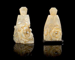 * A Near Pair of Mother-of-Pearl Snuff Bottles Height of taller 3 1/4 inches.