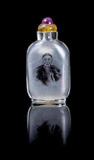 An Inside Painted Rock Crystal Snuff Bottle POSSIBLY EARLY 20TH CENTURY Height 2 3/4 inches.