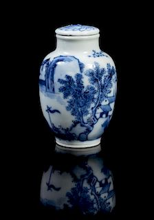 A Blue and White Porcelain Snuff Bottle Height 2 1/4 inches.