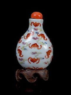 * A Famille Rose Porcelain Snuff Bottle LIKELY 18TH/19TH CENTURY Height 2 1/4 inches.