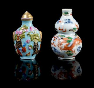Two Porcelain Snuff Bottles LIKELY 19TH CENTURY Height of taller 2 3/4 inches.