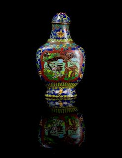 A Cloisonne Enamel Snuff Bottle Height 2 7/8 inches.
