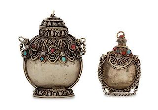 Two Tibetan Silver Snuff Bottles Height of taller 2 3/8 inches.