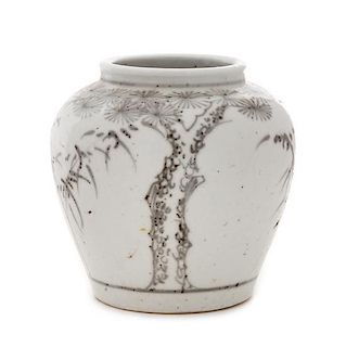 A Korean Blue and White Porcelain Jar POSSIBLY 19TH CENTURY Height 4 3/4 inches.