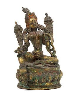 * A Gilt Bronze Figure of Tara Height 5 inches.