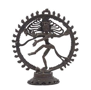 * An Indian Bronze Figure of Shiva Nataraja Height 10 1/2 inches.
