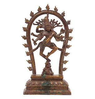 * An Indian Bronze Figure of a Bodhisattva Height 9 1/2 inches.