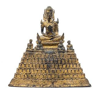 * A Thai Gilt Bronze Figure of Buddha Height 11 1/2 x width 11 1/2 inches.