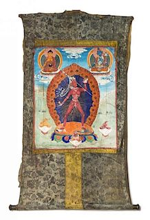 A Tibetan Thangka Height visible 19 x width 15 3/4 inches.