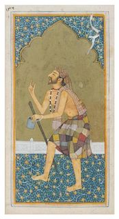 * An Indian Gouache Painting Height overall 13 7/8 x width 7 3/4 inches.