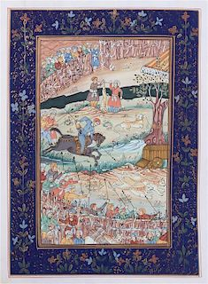 * Three Persian Illuminated Manuscript Leaves Height of largest 12 3/4 inches.