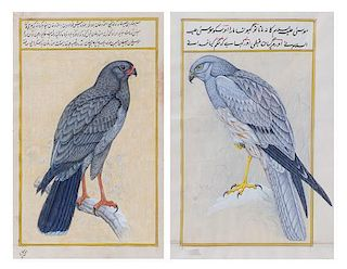 Two Persian Illuminated Manuscript Leaves Height of taller 14 5/8 x width 9 inches.