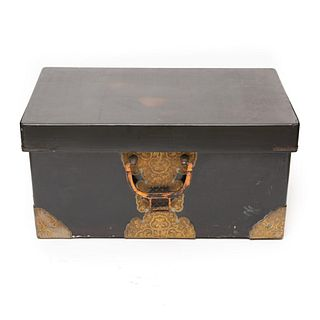 Japanese Meiji Brass Decorated Lacquered Wood Traveling Chest
