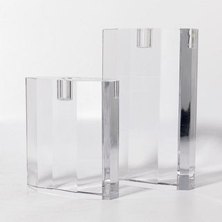 Pair of Signed Orrefors Crystal Candle Holders